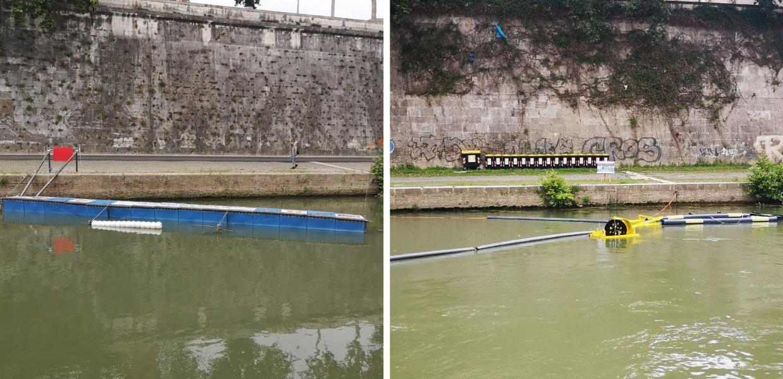 """Installate due barriere """"acchiappa-plastica"""" sul fiume Tevere"""